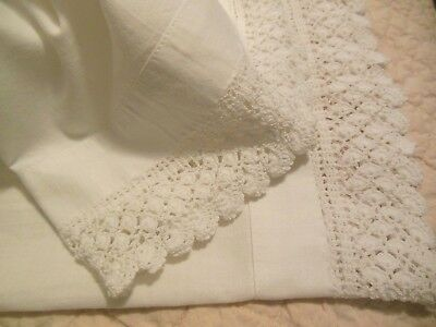 Vintage Simply White Unused Crocheted Edges Cotton Pillowcases