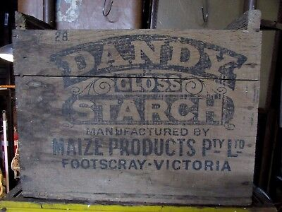 Vintage Wooden Box Crate Dandy Gloss Starch Footscray Melbourne Victoria Antique