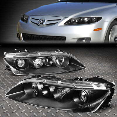 For 03-05 Mazda 6 Black Housing Clear Corner Projector Driving Headlight/lamps