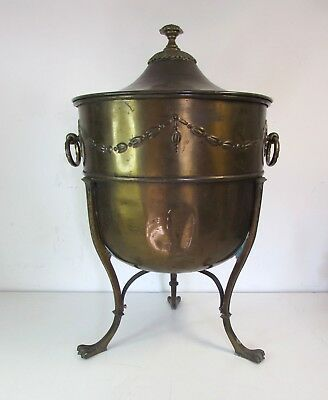 Large Elegant Claw Footed Victorian Edwardian Brass Coal or Log Bin Basket Box