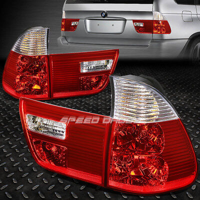 For 2000-2006 Bmw X5 E53 Chrome Housing Red Lens Rear Tail Light Brake Lamp Pair