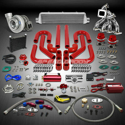 Gt45 800Hp+17Pc Turbo Charger+Dual Wg Manifold+Intercooler Kit For Honda B16/b18