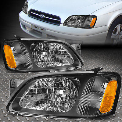 For 00-04 Subaru Legacy Gt Black Housing Amber Corner Headlight/lamps Left+Right