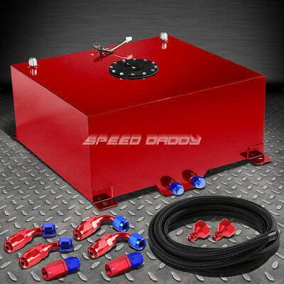 20 Gallon Red Aluminum Fuel Cell Gas Tank+Cap+Level Sender+Nylon Fuel Line Kit