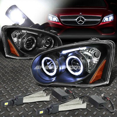 Black Amber Halo Projector Headlight+6000K White Led System For 04-05 Wrx/sti
