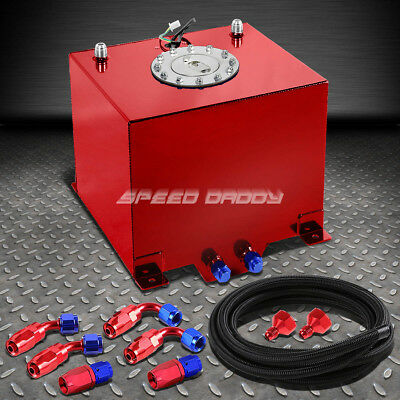 5 Gallon/18.8L Red Aluminum Fuel Cell Gas Tank+Level Sender+Nylon Fuel Line Kit