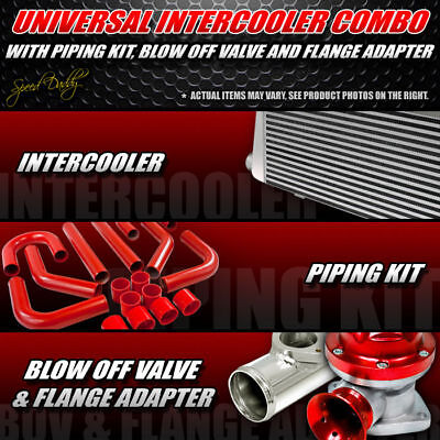 """UNIVERSAL 27.25""""x7""""x2.75""""INTERCOOLER+2.5"""" RED PIPING+TYPE-RS BLOW OFF VALVE+HOSE"""