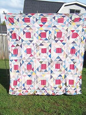 """Vintage Hand Sewn Quilt top Triangles & Squares 80"""" x 83"""""""
