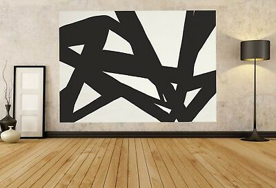 Huge Modern Abstract Painting Canvas Wall Art Large UNSTRETCHED Big Black White