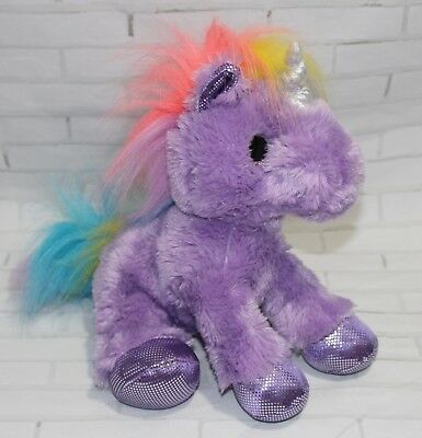 "Aurora Electra UNICORN 12"" Plush Sparkle Tales Purple Rainbow Stuffed Animal NEW"