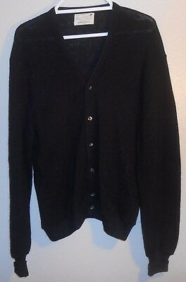 Vintage Arnold Palmer by Robert Bruce Alpaca/Wool Black Cardigan Sweater L