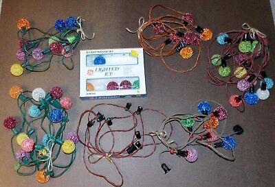 Estate Lot Vintage Ge Ice Lighted Christmas Lights Balls 60 Total Extra Wire