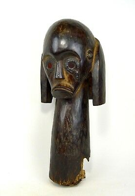 Bold & Powerful large Fang Reliquary Head, Red Glass Eyes,  African Art