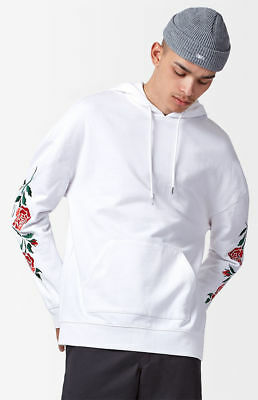 New Pacsun Mens Rozu White Roses Oversized Fit Pullover Hoodie Jacket Size  Small cce25c38aaa1