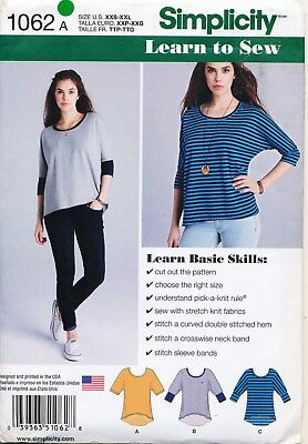 Simplicity Sewing Pattern 1062 Misses Sz 4-26 Easy Learn To Sew Tops, Plus Sizes