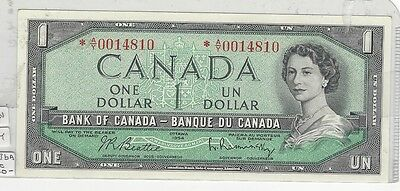 **1954**Canada $1 Note, Beattie/Rasmin. BC-37bA, Ser# *A/Y 0014810 Replacement