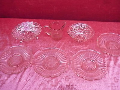 7 Beautiful, Old Glass Parts__Pressed Glass __Art Nouveau __ Pink
