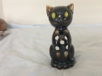 Vintage 50's Ceramic Brown Cat Candle Votive Holder W/ Cats Eye Marble Eyes