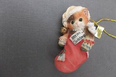 "Kitten in Stocking - Priscille Hillman Enesco Ornament ""Kitties Christmas"" w/Tag"