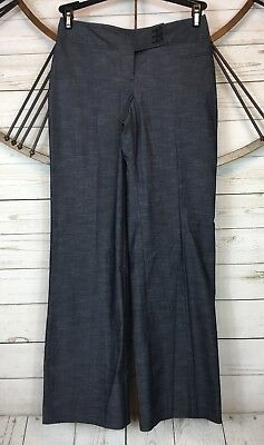 Ann Taylor LOFT Petites Julie 0P Dress Pants Gray Chambray Cotton Blend Stretch