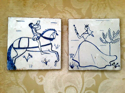 Pair of Vintage French Tiles Blue/White Wedding Hand Painted Marked France