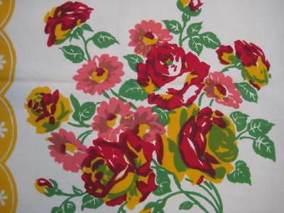 Vintage Bright RED ROSES Floral White Cotton Square Tablecloth 49 x 50