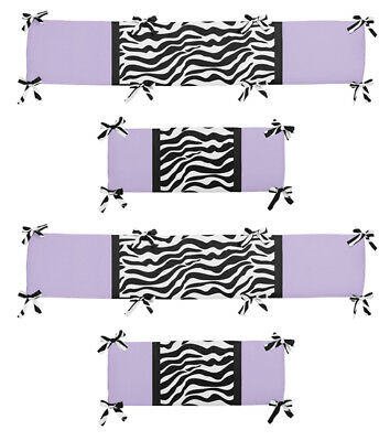 Modern Luxury Purple Lavender Black Zebra Print Baby Girl 4Pc Crib Bumper Pad