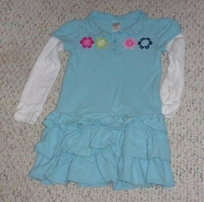 Robin Egg Blue Gymboree L/S Dress w/ Flowers Across Chest, Smart and Sweet, 6