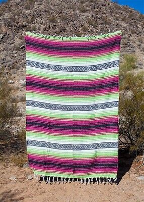 """Authentic Mexican Falsa Blanket Yoga Mat 74""""x50"""" - Pink, Green, Black and White"""