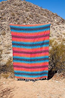 """Authentic Mexican Falsa Blanket Yoga Mat 74""""x50""""  - Orange, Blue, Pink and Black"""