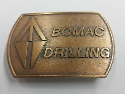Vintage 1980s BOMAC Drilling Solid Brass Belt Buckle
