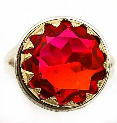 6CT Two Tone-Rubellite Tourmaline 925 Solid Sterling Silver Ring Jewelry Sz 7.5