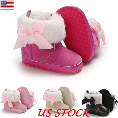 Newborn Baby Girls Soft Booties Winter Warm Snow Boots Bowknot Shoes 0-18M USA
