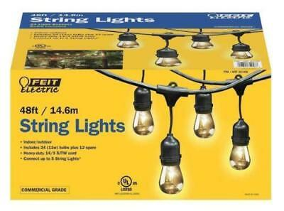 Feit Outdoor Weatherproof String Light Set 48ft 24 Black LED Sockets Bulbs Patio