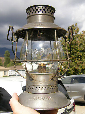 Santa Fe Tall Globe Railroad Lantern W/scarce Double Sided Globe Logo & At&sfry!