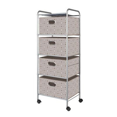 Tan 4-Drawer Fabric Cart