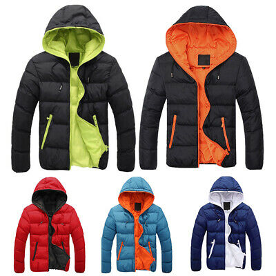 Mens Padded Bubble Coat Hooded Hoodie Quilted Puffer Jacket Warm Winter Hoody