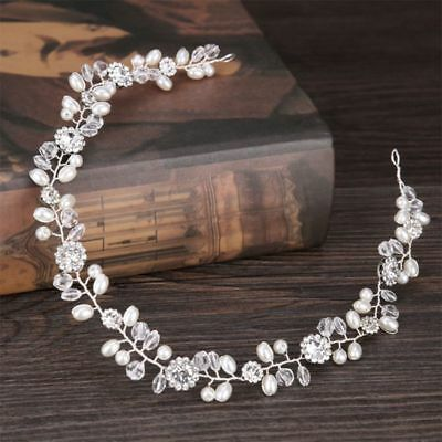 Wedding Bride Floral Crystal Pearl Headband Headwear Tiara Hair Band Accessories