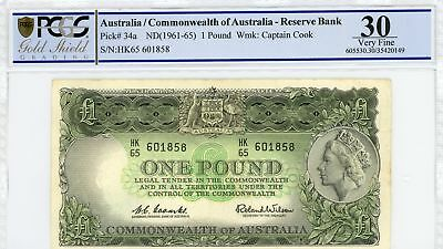 1966 Australia 1 Pound Banknote Coombs/Wilson Last Circulated Serial VF 30 PCGS