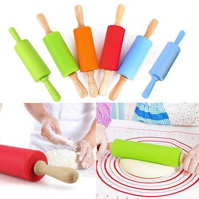 1PC Wooden Handle Silicone Rollers Rolling Pin Kid Kitchen Cooking Baking Tool