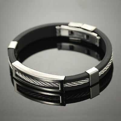 Stainless Steel Wire Bracelet Black silicone Bangle Fashion Men Fashion Jewelry