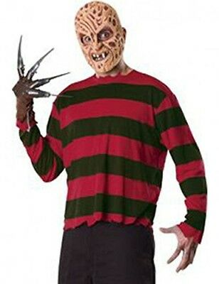 COSTUME Halloween FREDDY KRUEGER Adulto KIT GUANTO TSHIRT MASK Nightmare RUBIE'S