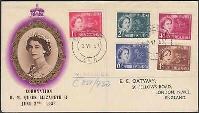 SOUTH WEST AFRICA 1953 HM QUEEN ELIZABETH CORONATION 5v ON REGISTERED CVR TO UK.