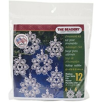"Beadery Holiday Beaded Ornament Kit, Crystal And Pearl Snowflakes, 2.5"" Makes"