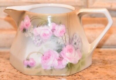 Vintage Antique Porcelain RS Germany Pink CABBAGE Rose Individual Cream Pitcher