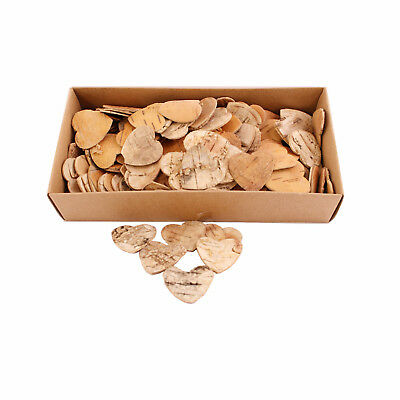 Birch Bark Flat 2cm Heart Shapes x 150
