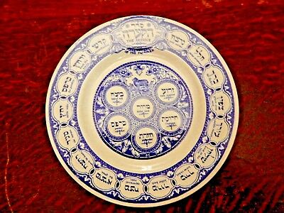 Beautiful Old Ridgway Blue Plate for Passover Service