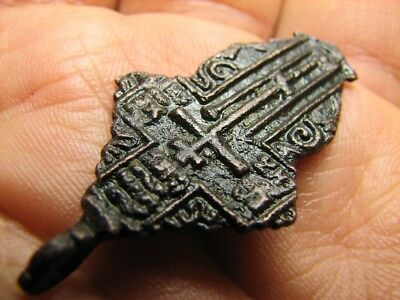 Big ! Authentic ! Prayer !  Late Medieval Orthodox Bronze Cross Pendant! #756