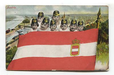 Austria flag & multiple babies wearing military hats - 1906 used postcard