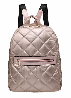 Quilted Metallic Effect Backpack Rose Gold Zipped Pocket Travel Holiday